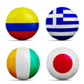 Soccer balls with group c teams flags football brazil four Stock Photography