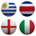Soccer balls with group d teams flags football brazil isolated on white Stock Photos