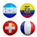Soccer balls with group e teams flags football brazil four Stock Images