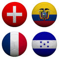 Soccer balls with group e teams flags football brazil isolated on white Stock Photography