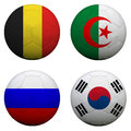 Soccer balls with group h teams flags football brazil isolated on white Royalty Free Stock Image