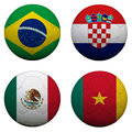 Soccer balls with group a teams flags football brazil Royalty Free Stock Images