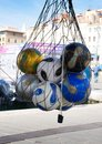Soccer Balls on the Quay in Marseille Royalty Free Stock Photo