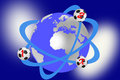 Soccer balls that revolve around earth globe illustration with which orbits three footballs symbol of international sport Royalty Free Stock Images