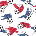 Soccer balls seamless pattern with balls and flag colors. Royalty Free Stock Photo