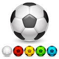 Soccer balls set of color Stock Images