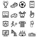 Soccer black minimalistic icons set Royalty Free Stock Photo