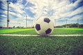 Soccer blue sky football in the blue sky vintage color Stock Images