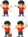 Soccer boy customizable mascot a vector set of a in several poses drawn in cartoon style this vector is very good for design that Royalty Free Stock Image