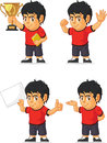 Soccer boy customizable mascot a vector set of a in several poses drawn in cartoon style this vector is very good for design that Royalty Free Stock Photography