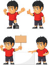 Soccer boy customizable mascot a vector set of a in several poses drawn in cartoon style this vector is very good for design that Stock Images