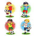 Soccer boys player with different uniforms vector eps file Stock Photos