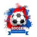 Soccer Championship banner or poster design with football on Russian flag colors brush stroke background.