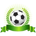 Soccer championship concept champion with shiny green laurel ribbon banner and ball on glowing background Royalty Free Stock Photo