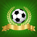 Soccer championship design with football champion concept shiny gold laurel ribbon banner and ball on glowing green background Royalty Free Stock Image
