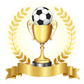 Soccer championship gold trophy campionship with golden banner and laurel on glowing background Stock Images