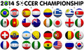 Soccer championship groups flags brazil all nation d ball designs Stock Images