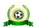 Soccer championship logo shield illustration of black and white ball on a seal and green laurel and ribbon banner Stock Photo