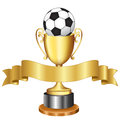 Soccer championship trophy and ribbon isolated ilustratin of a gold cup with a black white ball on it gold banner Royalty Free Stock Photography