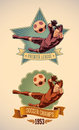 Soccer champs labels vintage styled championship label including an image of goalkeeper editable vector Royalty Free Stock Photography
