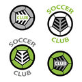 Soccer club emblem ball shoelace Royalty Free Stock Photo