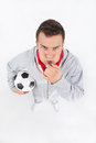 Soccer coach blowing a whistle Stock Photos