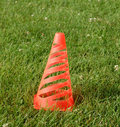 Soccer cone on grass Royalty Free Stock Photo