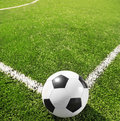 Soccer corner of field with the ball selective focus Royalty Free Stock Photo