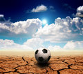 Soccer in desert land Royalty Free Stock Images