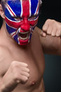 Soccer fan with great britain flag painted over face Royalty Free Stock Image