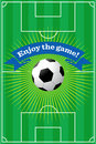 Soccer field background vector illustration of a with a ball in and a banner that reads enjoy the game Royalty Free Stock Images