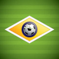 Soccer field brazil flag concept vector Royalty Free Stock Photography