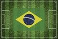 Soccer field brazil flag on green or football Stock Image