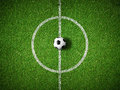 Soccer field center and ball top view background Royalty Free Stock Photo