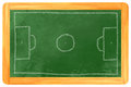 Soccer field chalk on blackboard a soccerfield drawn a Stock Photography