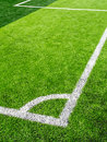 Soccer field, corner side, made from synthetic lawn Royalty Free Stock Photo