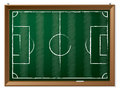 Soccer field drawn on chalkboard hanging green Stock Photo