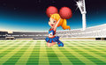 A soccer field with an energetic cheerdancer illustration of Stock Photos