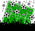 Soccer field and fans on white background Royalty Free Stock Photo