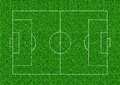 Soccer field layout on green grass background Royalty Free Stock Photo