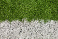 Soccer field line detail for backgrounds or texture macro shot Royalty Free Stock Images