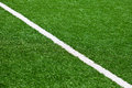 Soccer field line limit lines of a sports grass for background with selective focus Stock Images