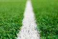 Soccer field line limit lines of a sports grass for background with selective focus Royalty Free Stock Photo