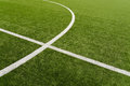 Soccer field lines on green grass Royalty Free Stock Photo