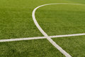Soccer field lines on green grass Stock Photo