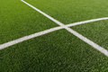 Soccer field lines on green grass Royalty Free Stock Photos