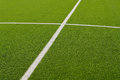 Soccer field lines on green grass Royalty Free Stock Photography