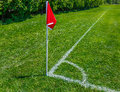 Soccer Field Pitch Red Flag Royalty Free Stock Photo