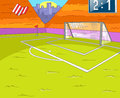 Soccer field witt grass and gate vector cartoon background eps Stock Photos