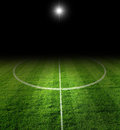 Soccer filed at night Royalty Free Stock Photography